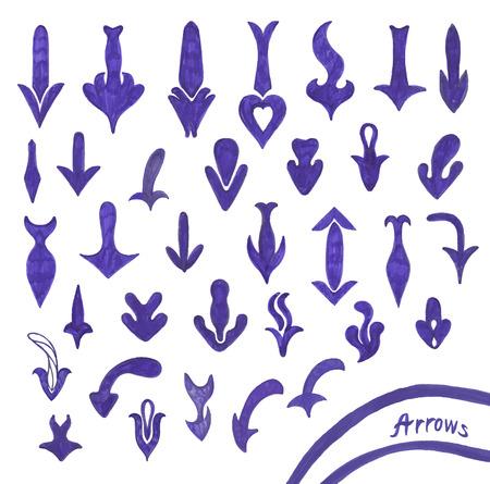 Sketching set of grunge blue pen arrow symbols Illustration