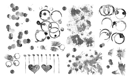 coffee stains: Coffee  stains  splashes isolated on white background. Coffee cup marks.