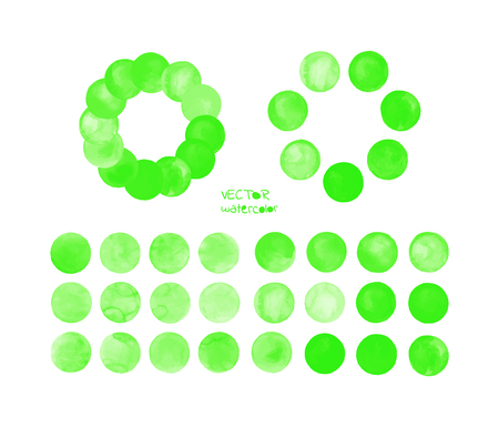 Green watercolor design elements isolated on white background. Light green painted vector stains set.  Green vector isolated watercolor paint circle Illustration