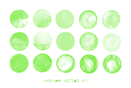 ink pot: Green watercolor design elements isolated on white background. Light green painted vector stains set.  Green vector isolated watercolor paint circle Illustration
