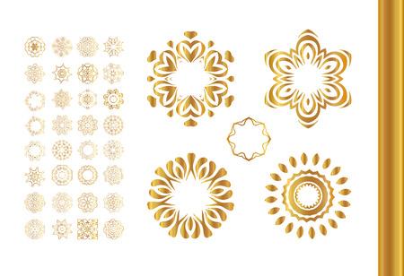 Vector mandala gold tattoo.  Traditional indian art henna tattoo  golden stickers  mehndi design.