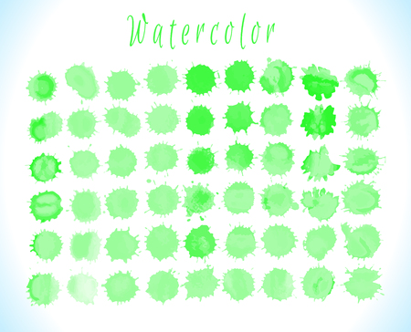 Vector green watercolor abstract texture. Vector design elements.  Watercolor organic eco template. Abstract artistic element forming by blots.