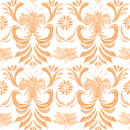 Abstract orange elegance seamless pattern with floral background. Ukrainian folk art.