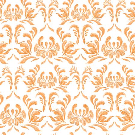 Abstract orange elegance seamless pattern with floral background. Ukrainian folk art.