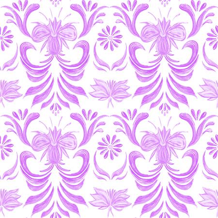 ukrainian traditional: Petrykivka art. Abstract elegance seamless pattern with floral  pink background. Ukrainian folk art Illustration