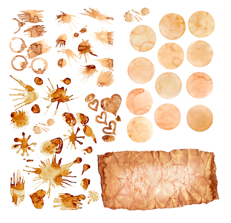 Coffee paint stains splashes and harts isolated on white background. Coffee cup marks set.