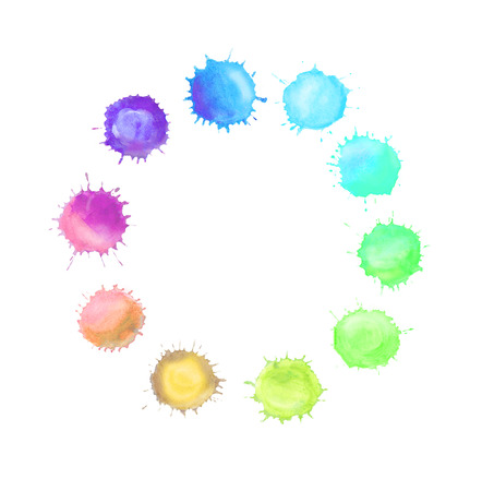 spill: Colorful watercolor splashes isolated on white background