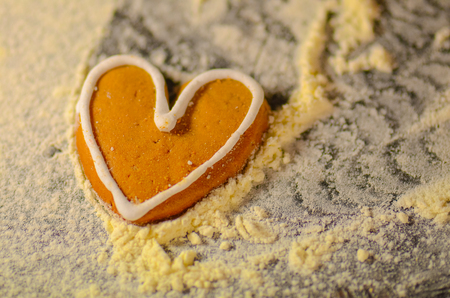 heartshaped: Cookie heart on wooden table. Valentine cookies with heart shape.