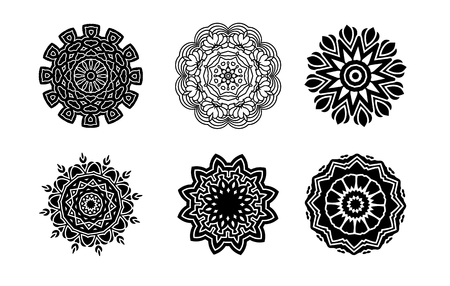 Hand drawn background. Oriental black and white mandala. Set of circular patterns or mandalas for coloring book on isolated background. Stock Photo