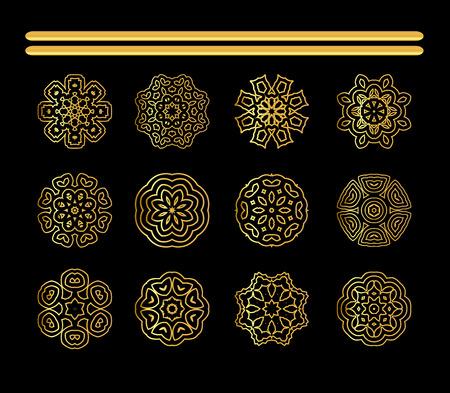 Mandala golden set.  Gold mandala on black background. Ethnic vintage pattern Islamic design Stock Photo