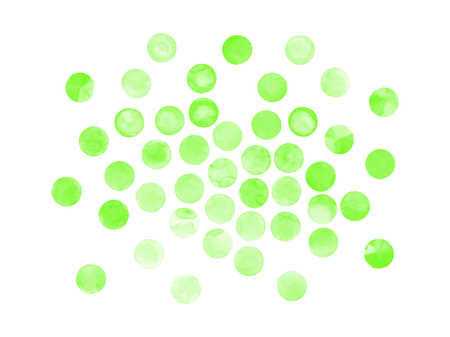 ful: Watercolor  green  painted vector circle frame banner. Watercolor brush strokes set. Spring frame concept. Illustration