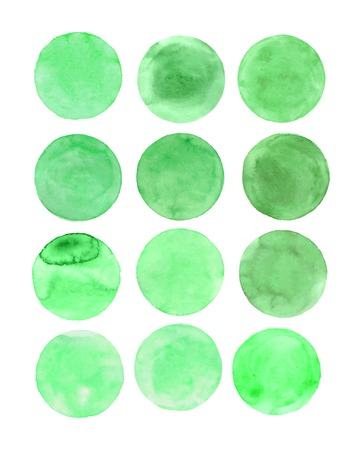 Watercolor  green  painted vector circle frame banner. Watercolor brush strokes set. Spring frame concept. Illustration