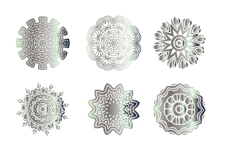 Hand drawn abstract background.  Vintage  pattern.  Silver circle texture.