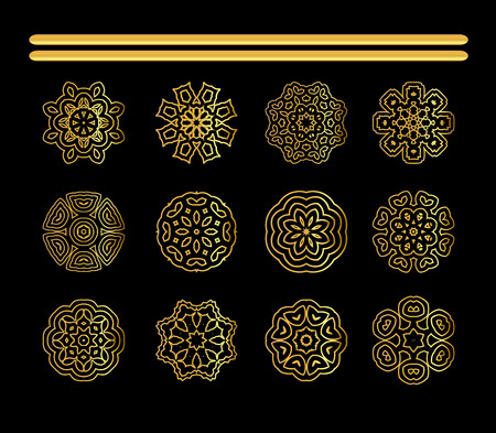 Gold circular ornament on black background