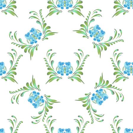 flawless: Flawless blue seamless flower pattern Illustration