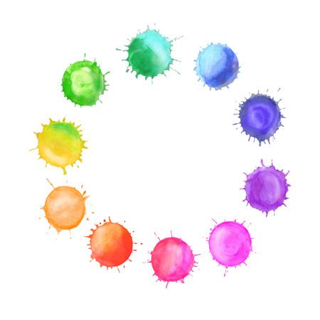 Watercolor rainbow blobs colorful paint drops texture. Colorful watercolor splashes isolated on white background