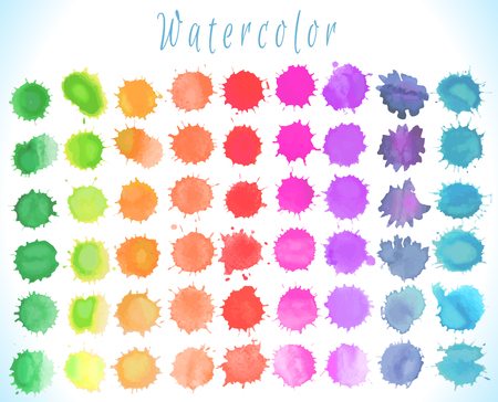Colorful watercolor splashes isolated on white background. Vector  art  illustration