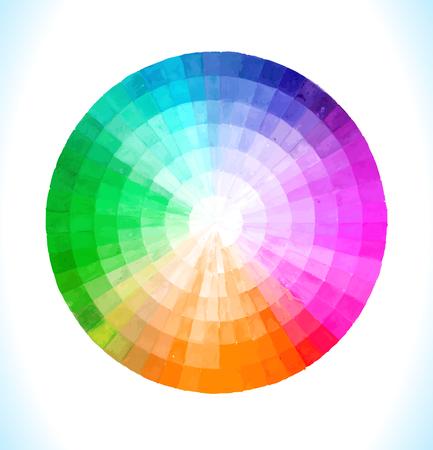 Círculo espectral multicolor del vector del arco iris Dibujado a mano ilustración acuarela.