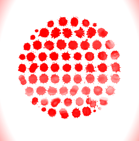 Set of various blood  splatters isolated over white background. Vector red  stain, blots, splashes. Illustration