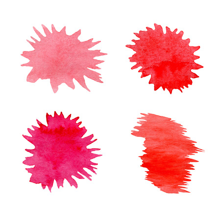 Different blood splashes drops. Set of various blood splatters Stock Photo