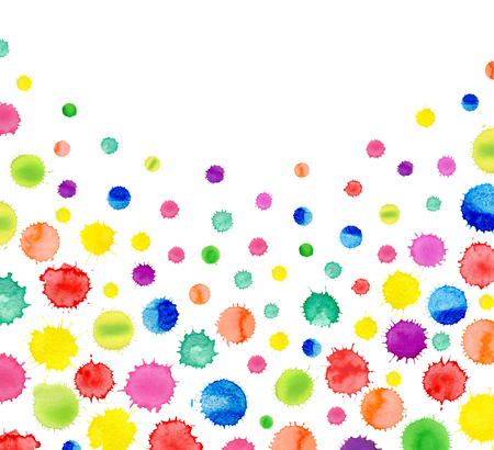 Colorful paint watercolor pattern. Watercolor simple polka dot  background. Watercolor rainbow confetti border with space for your text. Stock Photo
