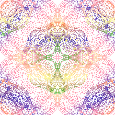 Seamless pattern with round ornament. Vector illustration background. Seamless multicolor pattern with oriental mandalas