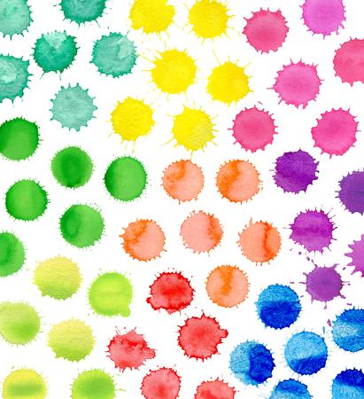 inkblot: Colorful art splashes isolated on white background.  illustration