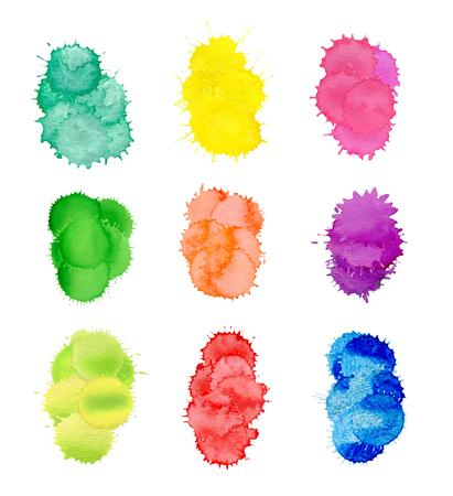 Colorful art splashes isolated on white background.  illustration