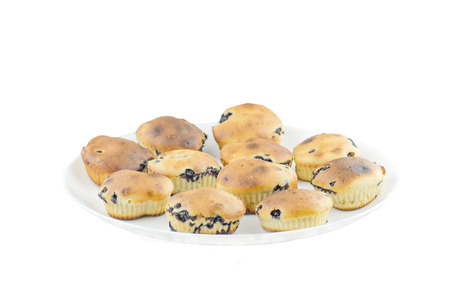 blueberry muffin: Blueberry muffins isolated on white backgrounds. Muffin with blueberries Stock Photo