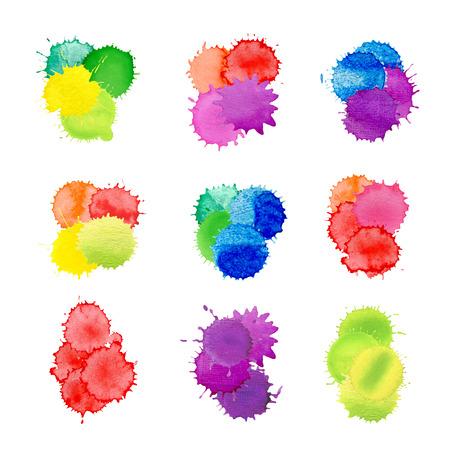 手描きのしみセット。カラフルな水彩スプラッシュのテクスチャです。白い背景に分離された水彩画のスプラッシュ 写真素材