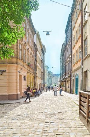 Lviv, Ukraine - July 14, 2017: Historic center of Lviv. Morning Lviv city in the sunlight. Old town of Lviv