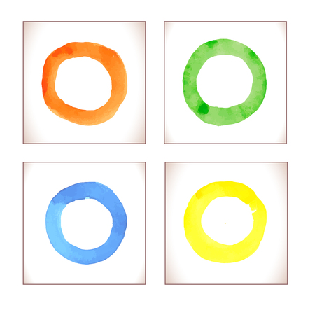 hole: Watercolor rainbow  vector rings. Colorful template for your design. Watercolor colorful grunge circle stains.