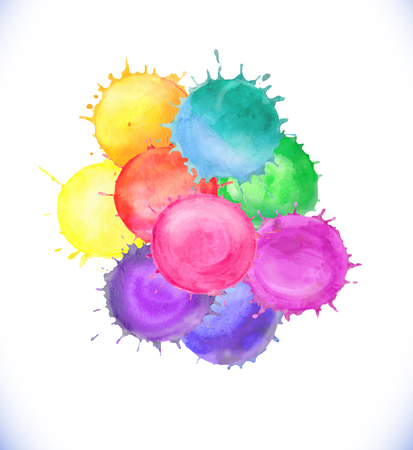 Colorful watercolor vector splashes isolated on white background.