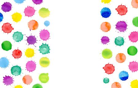 Fondo multicolor de vector acuarela. Patrón de salpicaduras de acuarela colorida. Salpicaduras de acuarela sobre fondo blanco. Ilustración de vector