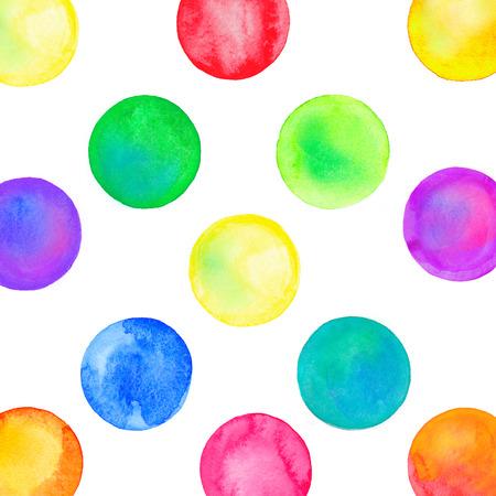 다채로운 서클 추상 수채화 패턴입니다. 혼란스러운 수채화 파스텔 폴카 도트입니다. 스톡 콘텐츠