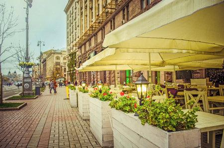 KIEV, UKRAINE - OCTOBER 29, 2017: Khreshchatyk is the main street of Kiev.