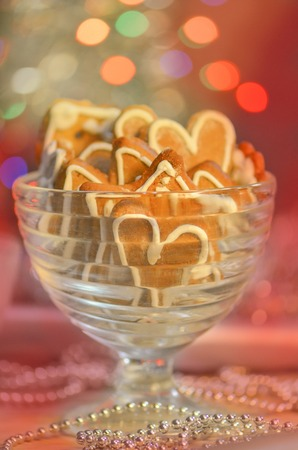 Heart-shaped biscuits.  Valentines day cookies. Valentine heart shaped cookie
