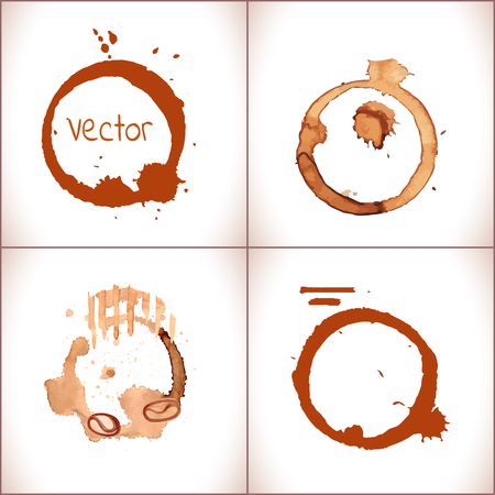 Coffee stain set. Vector coffee cup stains isolated on white
