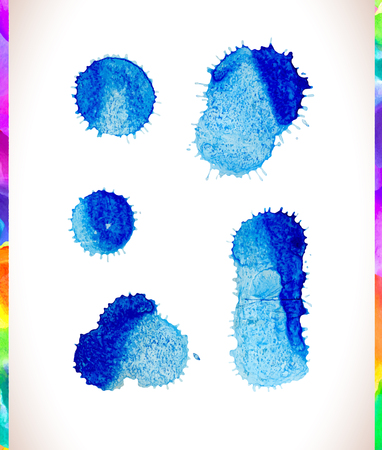 Vector watercolor splash background set. Vector blue stains