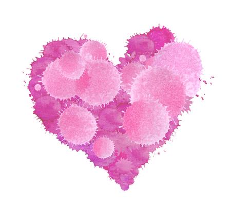 Violet watercolor painted heart shape. Hand drawn purple heart.