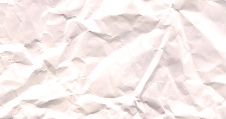 Wrinkled white  empty paper. Junk white paper with copy space