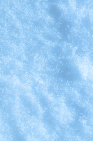 Snow texture in blue tone. Texture of white snow. Winter background with snow drifts