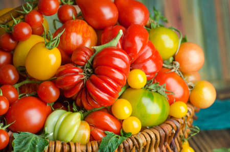 Wicker basket with various colorful vegetables. Fresh red tomatoes in basket in the kitchen