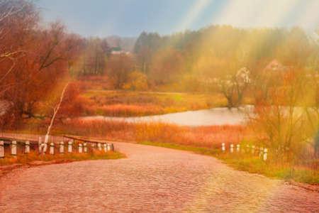 Colorful autumn landscape. Beauty of autumn season in the village.  Colorful autumn landscape in the village