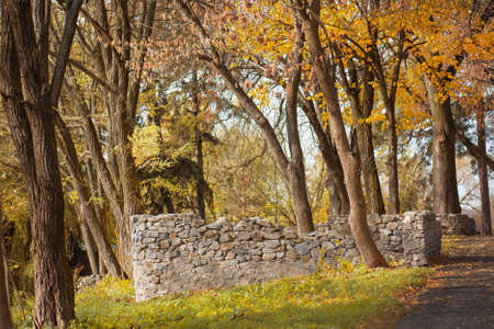 Old stone rock  with sunlight. Ancient architectural ruins in a beautiful old autumn park. Autumn road landscape 免版税图像