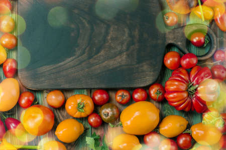 Group of fresh tomatoes. Tomatoes of different colors and types. Organic industry and eco farming