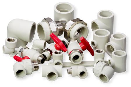 guarniciones: Grifer�a y piezas de tuber�as de accesorios de pl�stico Foto de archivo