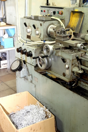 Old metal working lathe, made in the middle of the last century, is still in working order photo