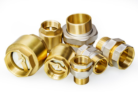 collet: Plumbing fixtures and piping parts on white