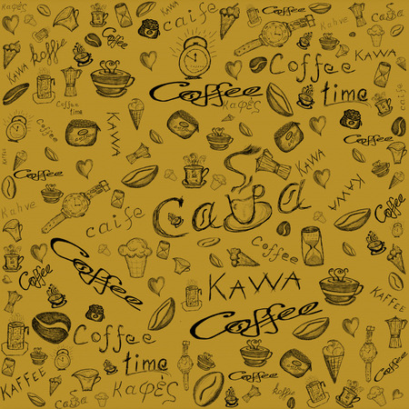 coffee and sweets seamless background  photo